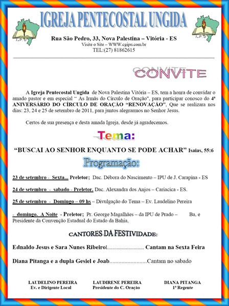 Inforum | Modelo de carta convite para evento evangelico